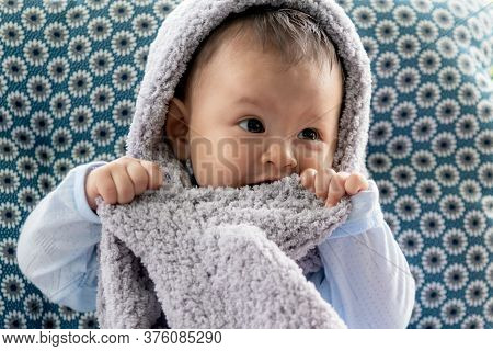 Portrait Images Of Cute Baby Is Enjoying The Scarf Bite, Because His Milk Teeth Are Going Up, To Inf
