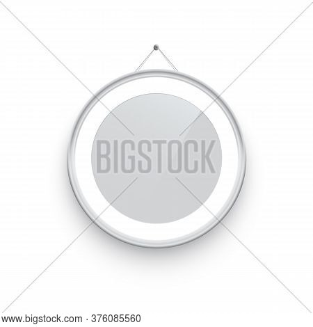 Round White Picture Or Photo Frame Holding On Pin Isolated On White Background. Vector Design Elemen