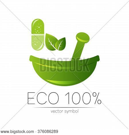 Green Herbal Bowl Vector Logotype With Green Leaf And Capsule. Concept Symbol For Medical, Clinic, P