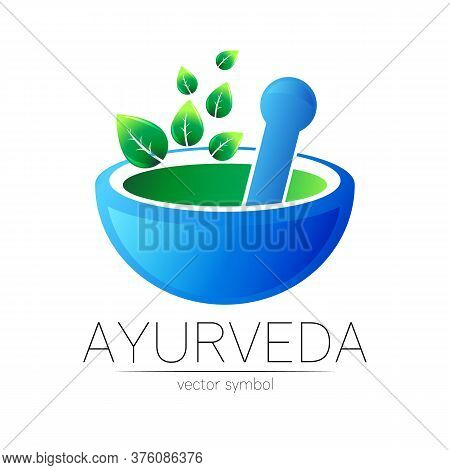 Ayurvedic Creative Vector Logotype Or Symbol. Mortar And Pestle Concept For Business, Medicine, Ther