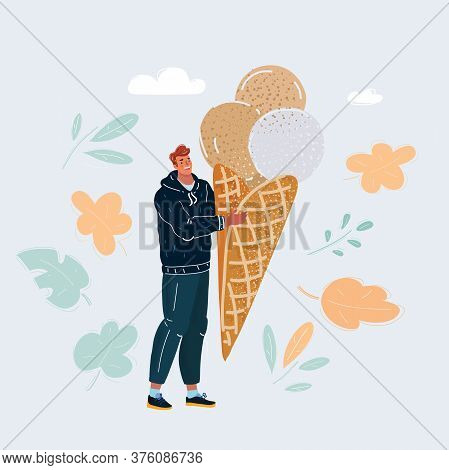 Vector Illustration Of Man With A Big Icecream