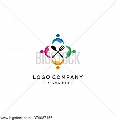 Human With Spoon And Fork Logo Design. Food Restaurant Logo Design, Family Logo And Restaurant Icon