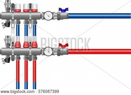 Underfloor Heating Collector. Stainless Steel Water Distribution Manifold For Underfloor Heating Sys