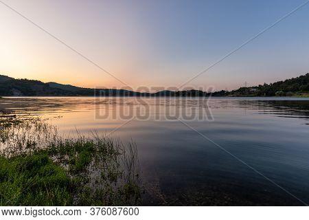 Sunrise On Bor Lake (borsko Jezero), An Artificial Lake In Eastern Serbia Near The City Of Bor