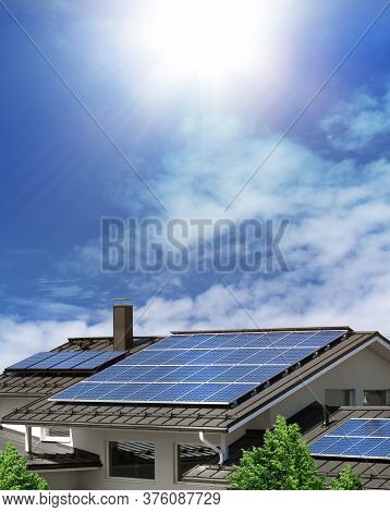 Solar Panel System On House Roof, Sunny Blue Sky Background, Green Energy Concept