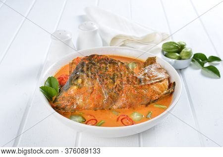 Fish Head Currywith Vegetables And Chilli Indonesian Dish