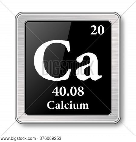 Calcium Symbol.chemical Element Of The Periodic Table On A Glossy Black Background In A Silver Frame