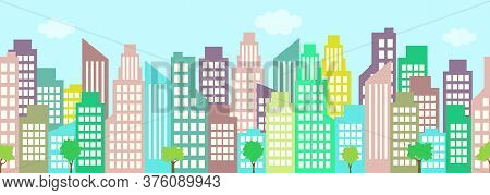 Cityscape, City Houses Seamless Border, Urban Multi-story Building, Municipal Background, Town Frame