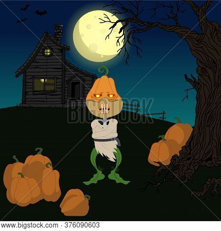 Halloween Night Vector Illustration. Skeleton Of A Pumpkin In A Measuring Suit And A Mask On His Fac