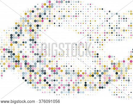 Polka Dot Halftone Geometric Vector Background Design. Circle Elements Wave. Optical Points, Polka D
