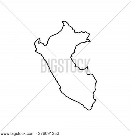 Outline Map Of Peru White Background. Vector Map With Contour.