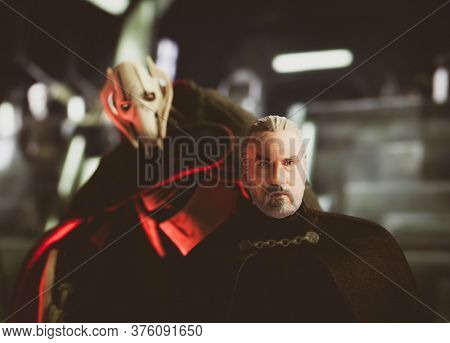 JULY 11 2020: scene from Star Wars the Clone Wars with General Grievous and Count Dooku/Darth Tyranus on the bridge of a battle cruiser - Hasbro acton figure