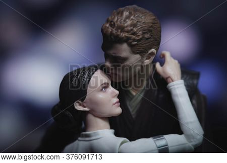 JULY 9 2020: scene from Star Wars Attack of the Clones with Jedi Anakin Skywalker and wife Padme Amidala in an embrace - Hasbro action figure