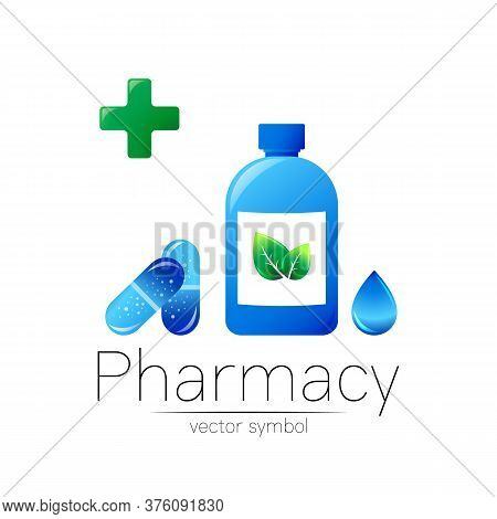 Pharmacy Vector Symbol With Blue Bottle And Cross, Green Leaf And Drop, Pill Capsule For Pharmacist,
