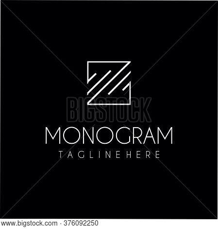 Square Monogram Letter M Logo With Thin Black Monogram Outline Contour. Trendy Square Alphabet Initi