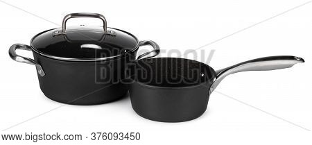 New Set Of Black Cookware Isolated On White