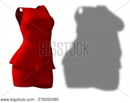 Conceptual fat overweight obese female skirt and blouse outfit vs slim fit healthy body after weight loss or diet thin young woman isolated. A fitness, nutrition obesity health shape 3D illustration