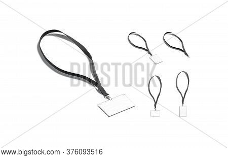 Blank Black Lanyard With Name Card Mockup, Different Views, 3d Rendering. Empty Laminated Hanging Ta