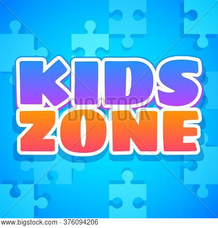 Kids Zone. Colorful Playing Park, Playroom Or Game Area Logo. Playground For Children Purple And Ora