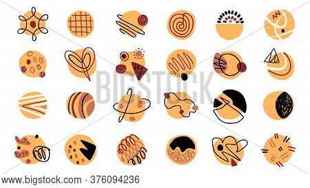 Abstract Shapes Vector Hand Drawn Set. Contemporary Modern Trendy Doodles.