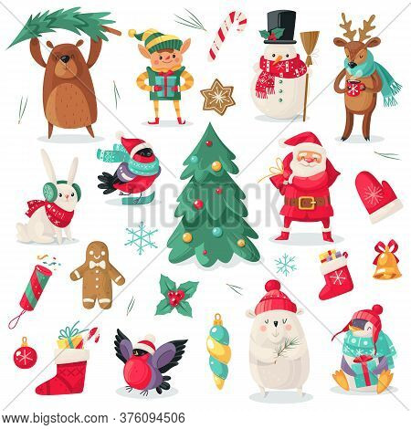 Christmas Characters. Cartoon Animals Bullfinch, Bear, Rabbit And Penguin, Xmas Gift. Santa And Snow