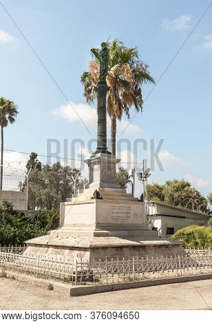 Haifa, Israel, July 10, 2020 : The Statue Of The Virgin Mary With A Baby In Her Arms Stands On A Hig