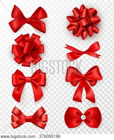 Red Gift Bows. Realistic Luxury Silk Ribbons With Bow, Festive Decorative Satin Rose, Holiday Packag