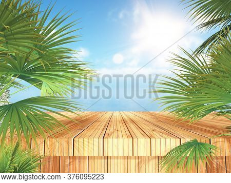 3D render of a tropical landscape with wooden table and palm trees looking out to the ocean