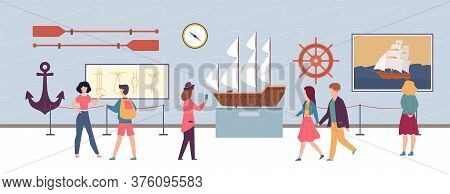 Maritime Exhibition In Museum Or Art Gallery, Visitors Men And Women Looking Artworks Pictures And S