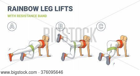 Rainbow Leg Lifts With Resistance Band Girl Exercise Workout Illustration Colorful Concept