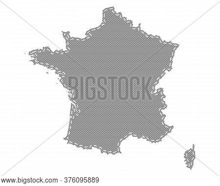 Detailed And Accurate Illustration Of Map Of France On Cloth With Stitches