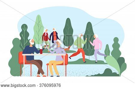 Seniors Resting. Elderly Vector Illustration. Grandmother Grandfather Characters. Old Couples Drink