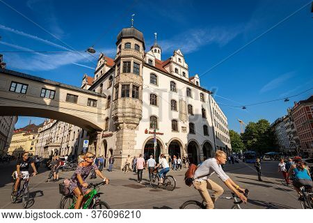 Munich, Germany - Sept 6, 2018: Stadtsparkasse Bank Building, Historical Palace In Munich Downtown,
