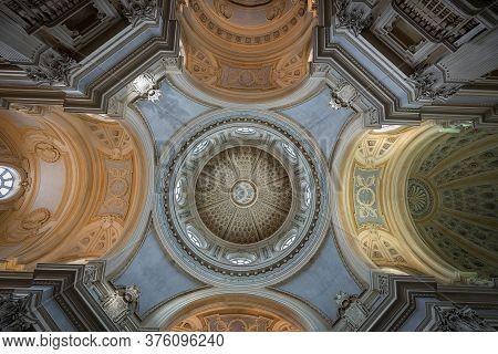 Turin, Italy - Apr 4, 2015: Interior Of The Church Of Saint Umberto In Baroque Style, Reggia Di Vena