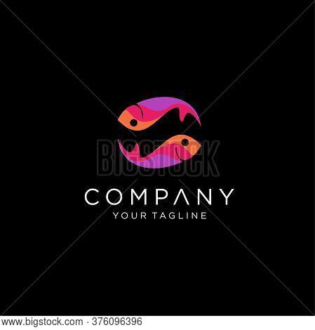 Fish Logo Design Vector Illustration Colorfull,  Fish Colorfull Design Logo Vector