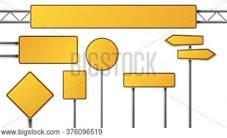 Realistic Yellow Road Sign. Isolated Signal Tables. Blank Street Traffic Symbols, Stopping Boards. S