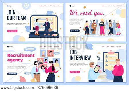 Recruiting And We Are Hiring Concept Web Banners Set With Cartoon People, Flat Vector Illustration.