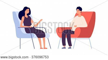 Woman Psychologist. Couple Flat Man Woman Sitting On Chairs. Psychotherapy Session Or Psychological