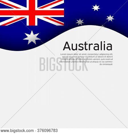 Australia Flag On A White Background. National Poster Design. Business Booklet. State Australian Pat