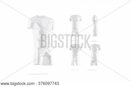 Blank White Soccer Uniform T-shirt And Short Mockup, Different Sides, 3d Rendering. Empty Sport Play