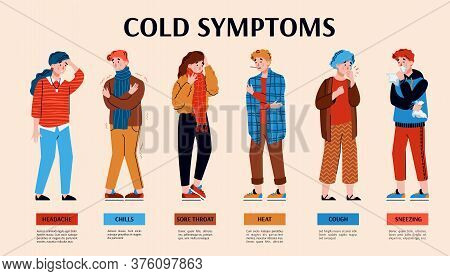 Common Symptoms Of A Cold, Flu Or Fever. People Get Sick And Feel Pain. Horizontal Medical Banner. V