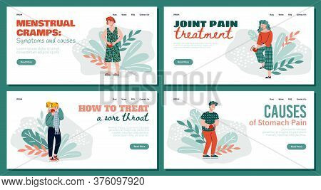 Set Of Homepages For Medical Site Depicting Various People Body Pain, Cartoon Vector Illustration. H