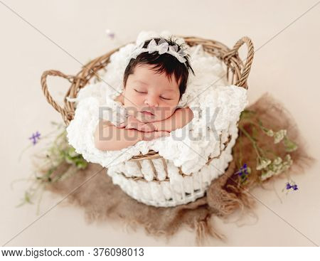 Funny newborn sleeping in basket on stomach