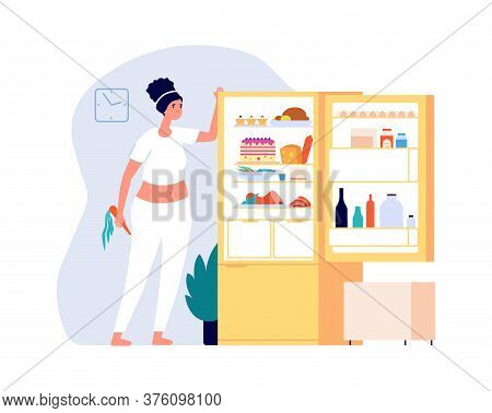 Night Eating. Woman Standing Open Fridge With Food. Diet Time, Overweight Problems Vector Illustrati