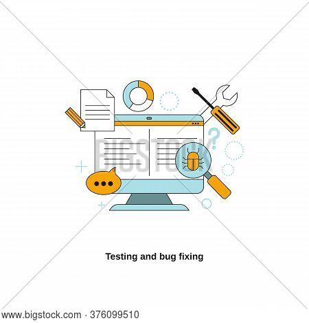 Testing And Bug Fixing Concept. Vector Template For Website, Mobile Website, Landing Page, Ui.