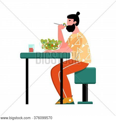 A Young Man Is Sitting At A Table And Eating A Vegetable Salad. The Concept Of Healthy Eating. Vecto