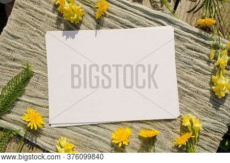 Summer Stationery Mockup Scene With With Yellow Flowers On A Old Wood Background In Rustic Style And