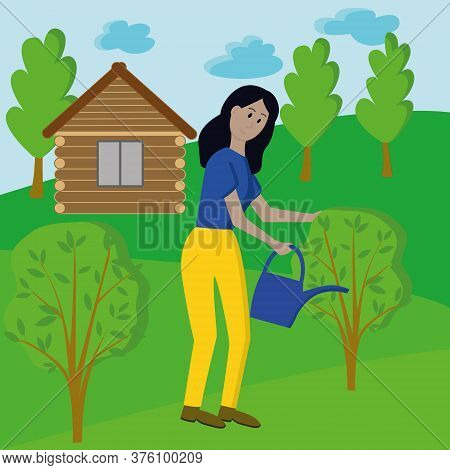 Girl With Dark Hair In A Blue Shirt And Yellow Pants Watering Trees From A Watering Can. Village Hou
