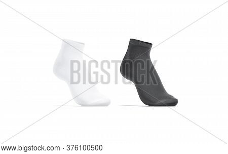 Blank Black And White Ancle Socks Mockup Set, Half-turned View, 3d Rendering. Empty Cotton Short Soc