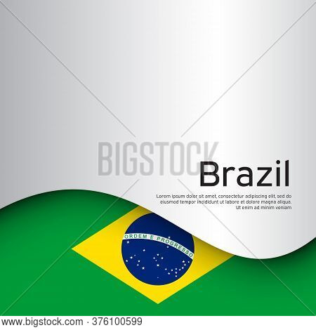Creative Wavy Background With Brazil Flag For Holiday Card Design. Paper Cut Style. Brazil National